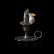 Cold Cast Bronze painted Mouse on Candlestick